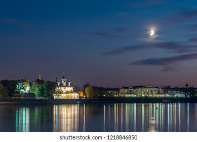 Picturesque view of Uglich from the Volga river. Golden Ring of Russia. Night view.