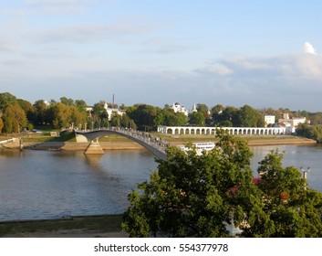 Picturesque view of Veliky Novgorod  bridge and  Shopping arcade