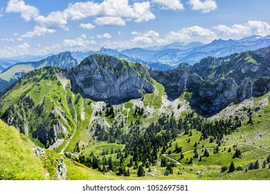 Picturesque views of the Alps from the pass Col de Jaman. The Col de Jaman (1,512 m) is a mountain pass in the western Swiss Alps. Canton of Vaud, Switzerland.