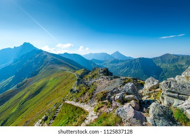 Picturesque views of the Tatras mountains, the top of Kasprowy Wierch, tourist site