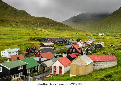 Picturesque village of Gjogv with typically colourful houses on the island of Eysturoy, Faroe Islands, Denmark