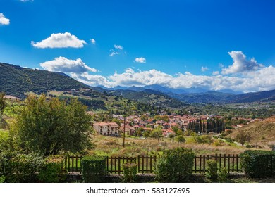 The picturesque village of Kalavryta. It is a small town and a municipality in the mountainous east - central part of the regional unit of Achaea, Peloponnese, Greece.