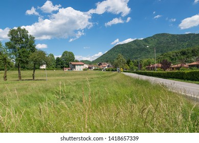Picturesque village in northern Italy, on the edge of the Campo dei Fiori regional park, Azzio town - province of Varese. In the background the Campo dei Fiori massif