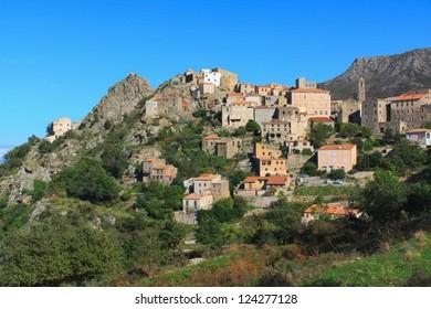 The picturesque village of Speloncata in the Balagne region, Corsica, France.