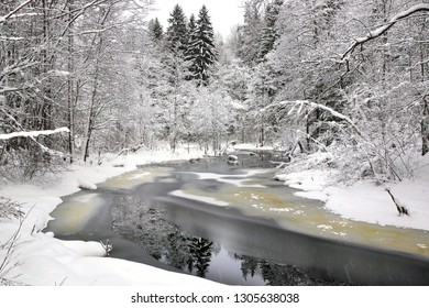 Picturesque winter Landscape with winter forest and river