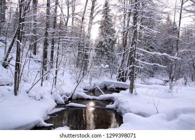 Picturesque winter landscape with river