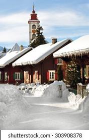 A picturesque winter scene in Andermatt, Switzerland