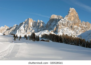 A picturesque winter scene in the Dolomites region of Northern Italy