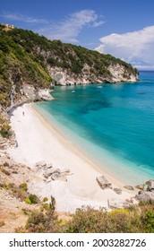 Picturesque Xigia sandy beach on north east coast of Zakynthos island, Greece