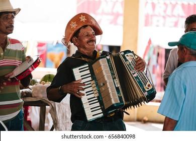 "Picui, Paraiba, Brazil - June 3, 2017 - ""Forro"" musicians - genre of Brazilian music that originated in Northeastern Brazil"
