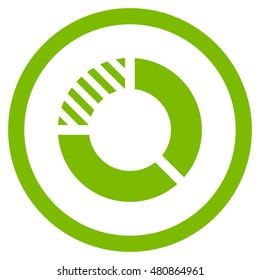 Pie Chart glyph rounded icon. Image style is a flat icon symbol inside a circle, eco green color, white background.