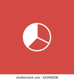 pie chart icon. sign design. red background