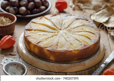 Pie with pear vegetarian with almond petals