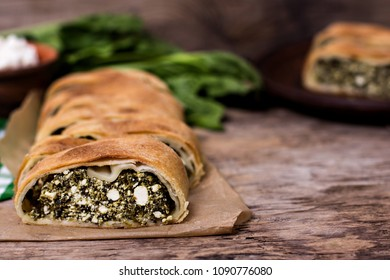 Pie or strudel with spinach and feta cheese