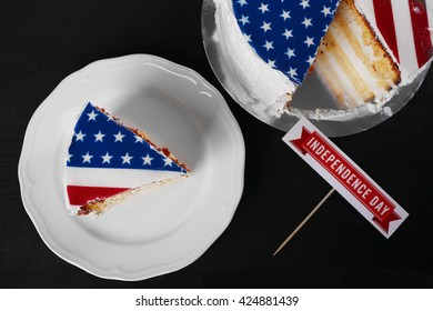 Piece of American flag cake. Independence day concept.