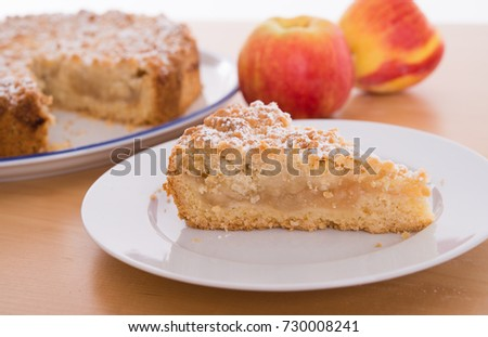 Piece Apple Pie Crumbles On Wooden Stock Photo Edit Now 730008241