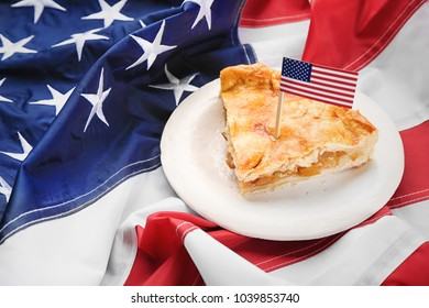 Piece of apple pie on American flag