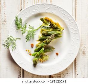 A piece of asparagus quiche