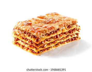 piece of baked lasagna with minced meat and cheese close-up isolated on white background