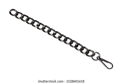 piece of black chain with carabiner isolated on white background