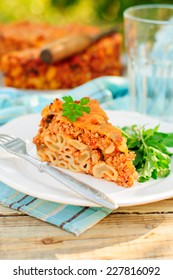 A Piece of Bolognese Pasta Bake, Macaroni Cheese, Minced Meat and Pasta Pie, copy space for your text