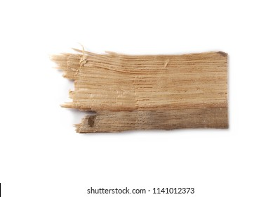 Piece of broken wooden plank isolated on white, board background