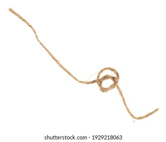 Piece of brown twine isolated on white background. rope