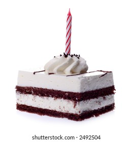 piece of cake with a candles on white background