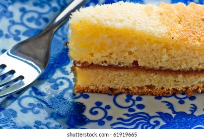Piece of Cake on Blue Patterned China Plate