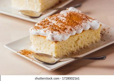 A piece of cake three milk ready to eat