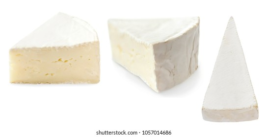 Piece of camembert cheese isolated on white background close up. Fresh soft cheese