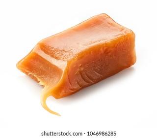 piece of caramel isolated on white background