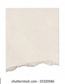 Piece of cardboard with torn edge. Isolated on white. Clipping path included.