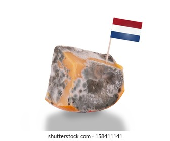Piece of cheese gone bad, isolated on white, flag of the Netherlands
