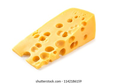 piece of cheese isolated on a white background.