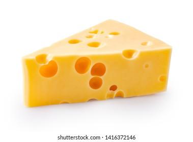 Käsestück einzeln auf weißem Hintergrund.