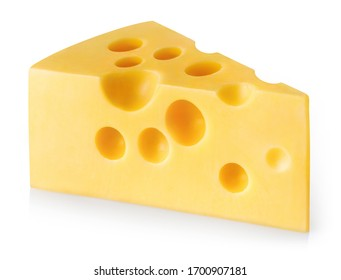 Piece of cheese, isolated on white background
