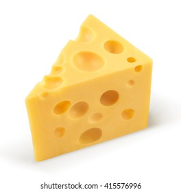 piece of cheese isolated on white with clipping path