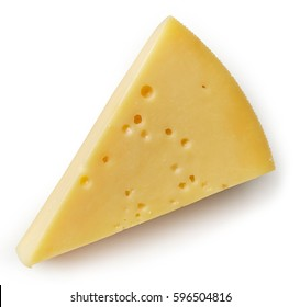 Piece of cheese isolated on white background. From top view