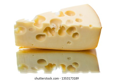 Piece of cheese and reflection isolated on white background