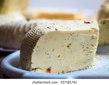 piece of cheese with spices