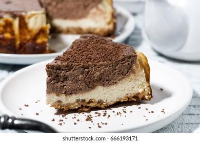 piece of chocolate creamy pie, horizontal