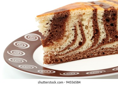 Piece of Chocolate Marble Torte on plate