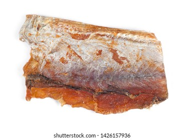 Piece of cleaned dried fish isolated on white (Dry Peppered Pollack)