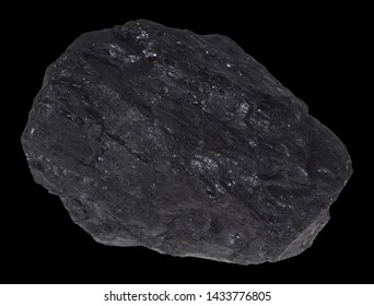 A piece of coal before exemptly black background.