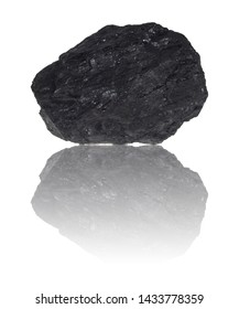 A piece of coal before exemptly white background.
