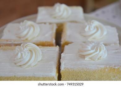 A piece of coconut cake, Close up