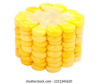 Piece of corn  (Zea mays) on cob (cut from maize ear) isolated