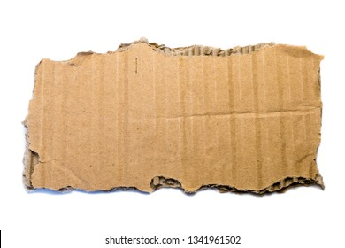piece of corrugated cardboard isolated on white background