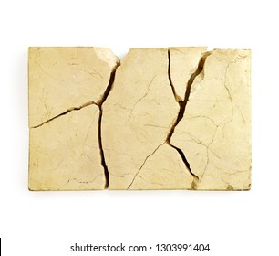 Piece of cracked marble against white background